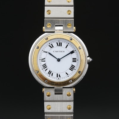 Cartier Santos Ronde 18K Gold and Stainless Steel Wristwatch