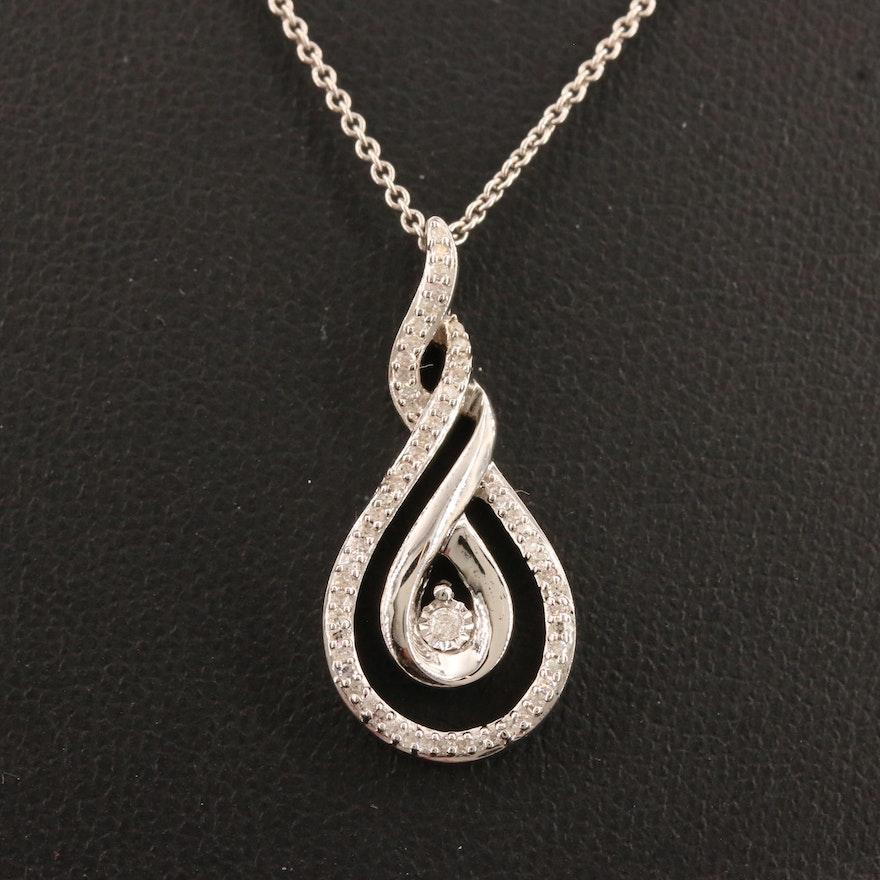 Sterling Diamond Twisted Teardrop Pendant Necklace