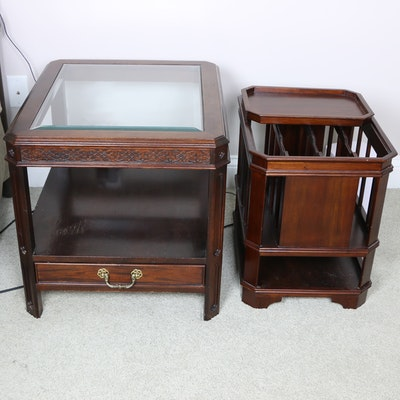 Wooden Side Table with Glass Top and Magazine Rack with Tray