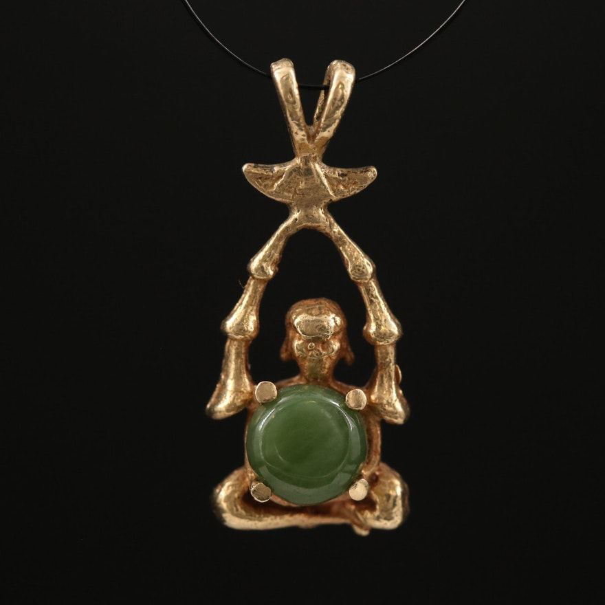 14K Nephrite Figural Pendant with Bamboo Accents