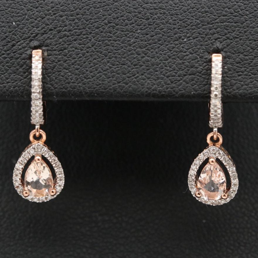 14K Morganite and Diamond Drop Earrings