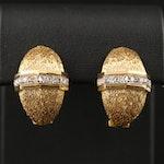 Vintage 14K Diamond Half Hoop Clip-On Earrings Featuring Textured Finish