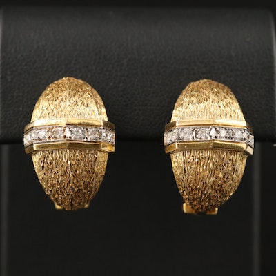 Vintage 14K Diamond Half Hoop Clip-On Earrings Featuring Textured Finish