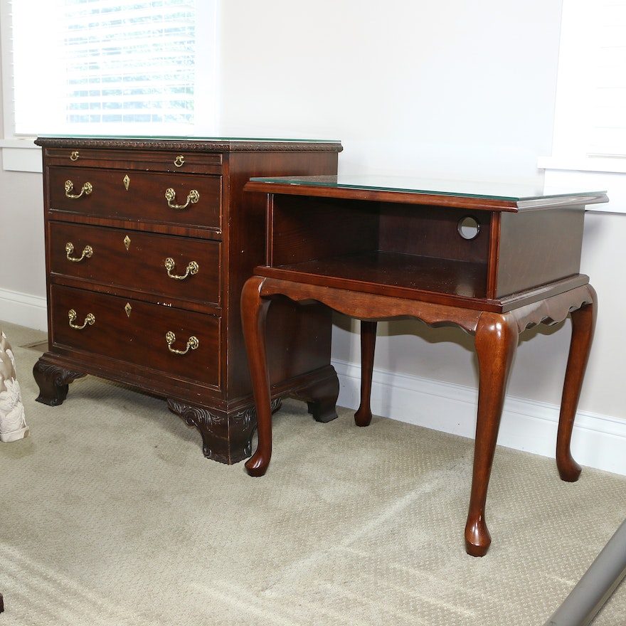 "Century Furniture ""Claridge Collection"" Chest of Drawers & Bombay Company Table"