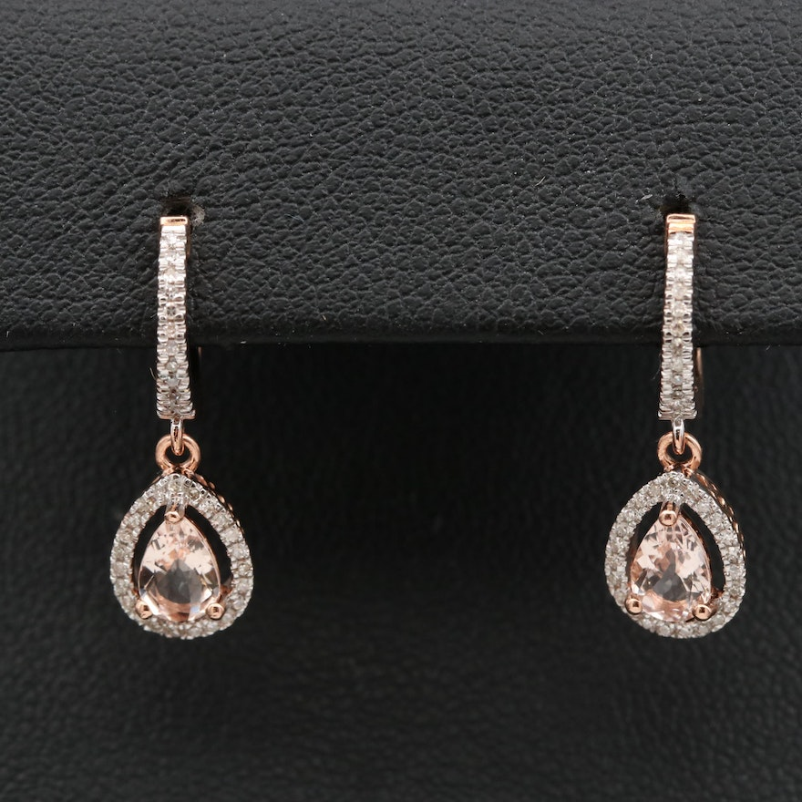 14K Morganite and Diamond Drop Earrings