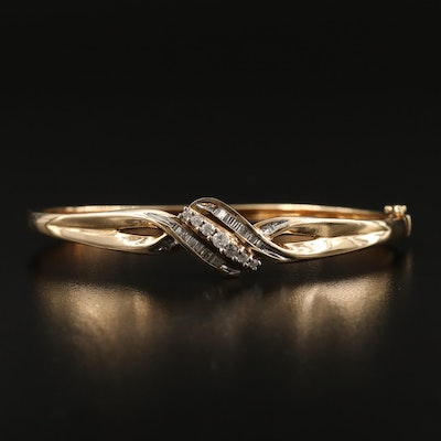 10K Diamond Oval Hinged Bangle