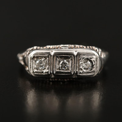 Vintage 14K Diamond Three Stone Ring
