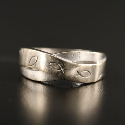 14K Crossover Band with Ichthus Motif