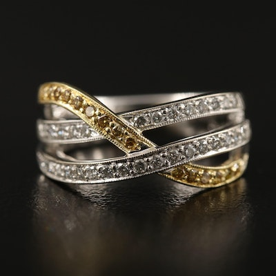 18K Diamond Crossover Ring
