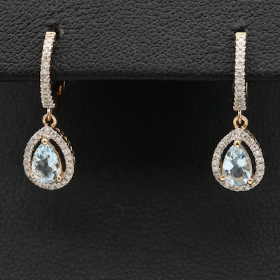 14K Aquamarine and Diamond Drop Earrings