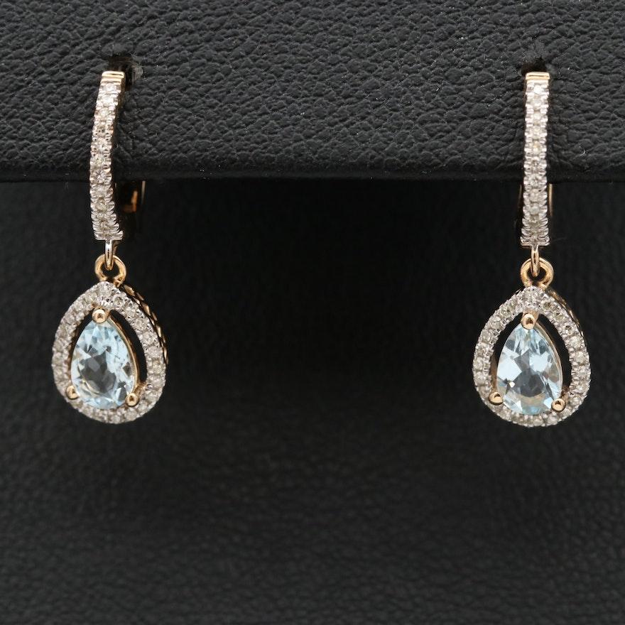 14K Aquamarine and Diamond Drop Earrings