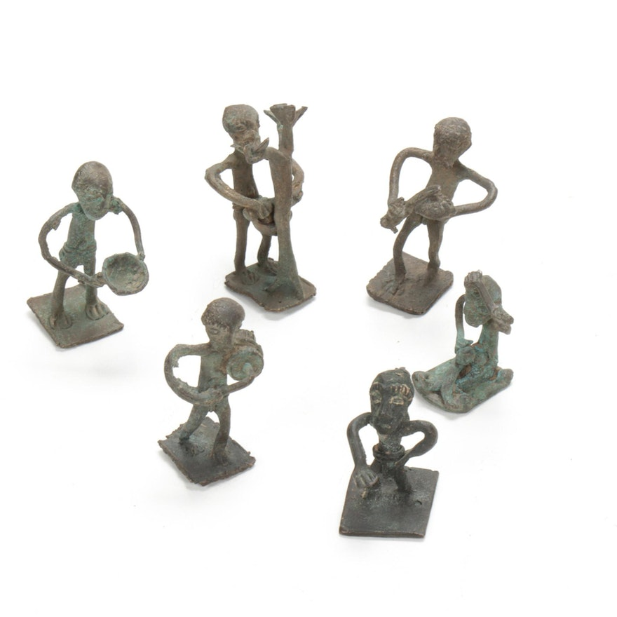 West African Metal Goldweights Depicting Everyday Life