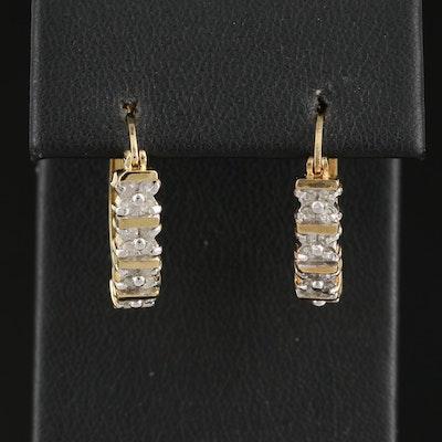 Sterling Silver Diamond Elongated Hoop Earrings