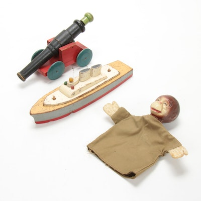 Keystone Manufacturing Co. Wood Ship Toy, Puppet, and Cannon, Antique