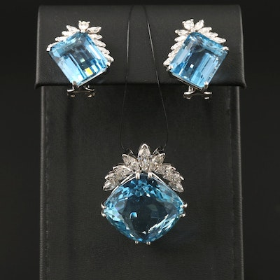 Platinum and 14K 53.74 CTW Aquamarine and 3.40 CTW Diamond Pendant and Earrings