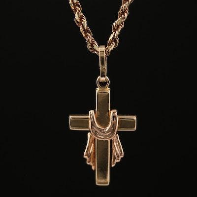 14K Cloth Draped Cross Pendant Necklace