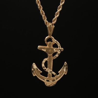 14K Anchor Pendant Necklace