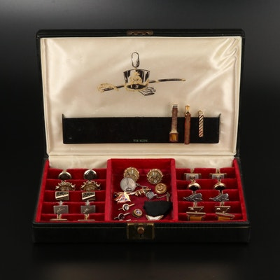 Collection of Vintage Cufflinks and Tie Bars Featuring Hickok and Harry S. Bick