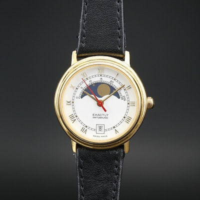 Exactly Swiss Moon Phase Gold Tone Quartz Wristwatch