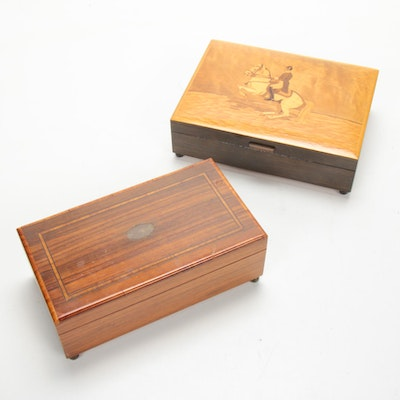 Swiss Satinwood Inlay Music Boxes, Early 20th Century