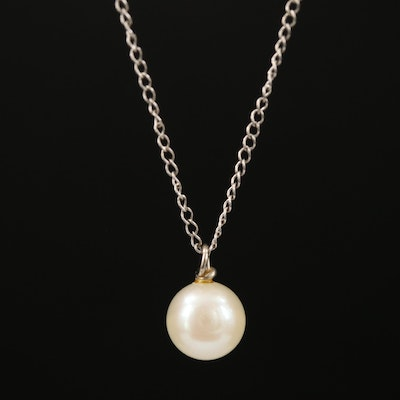 14K Single Pearl Pendant Necklace