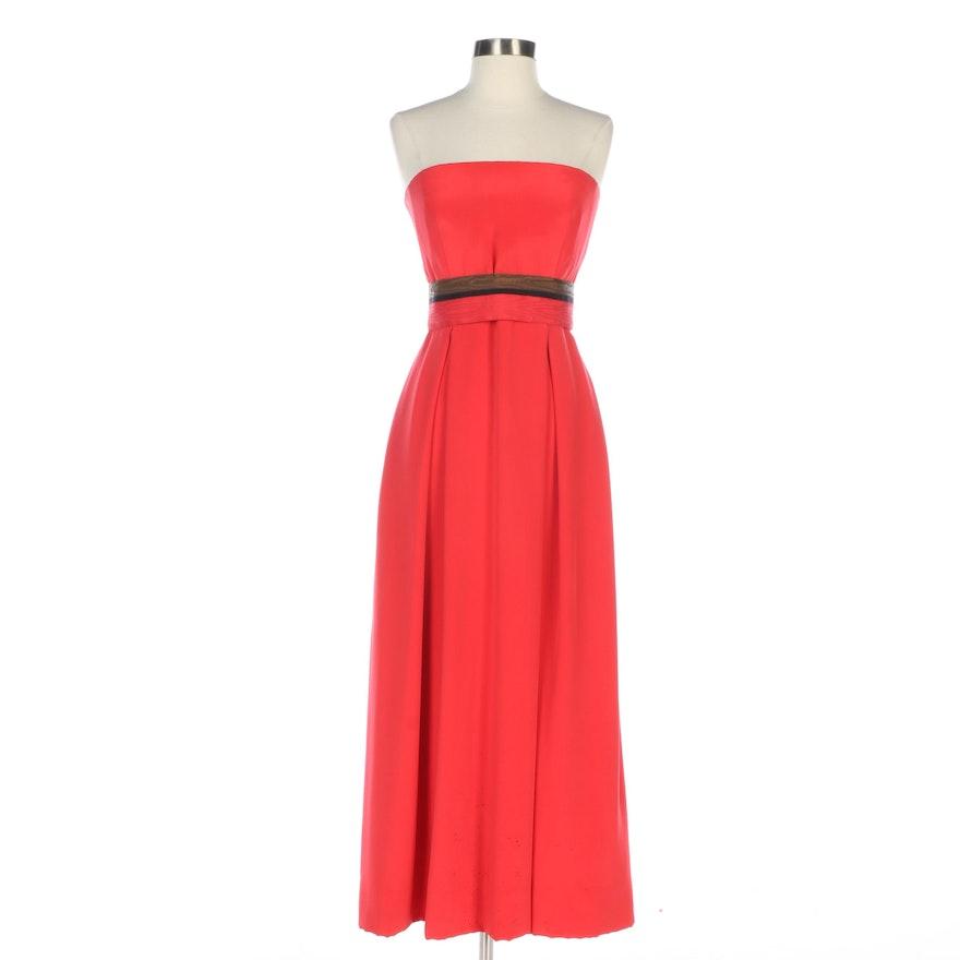 Bill Blass Orange Red Silk Strapless Dress with Striped Grosgrain Waistband