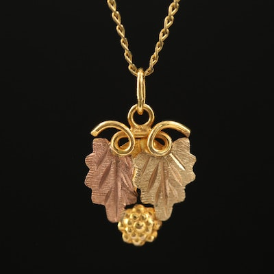 10K Two-Tone Gold Grape Vine Pendant on Curb Link Necklace