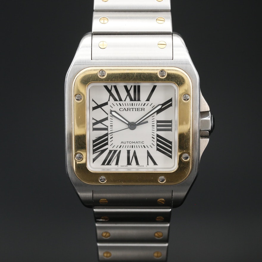 Cartier Santos Galbee 100 XL Stainless Steel and 18K Automatic Wristwatch
