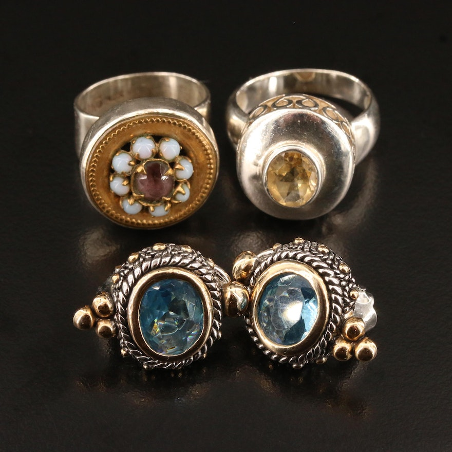 Rings and Earrings Selection Featuring Sterling Silver, Glass and Citrine