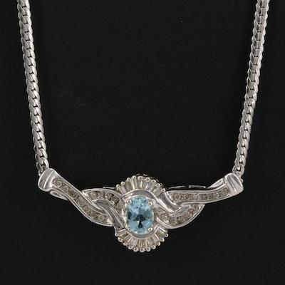 14K Aquamarine and Diamond Necklace