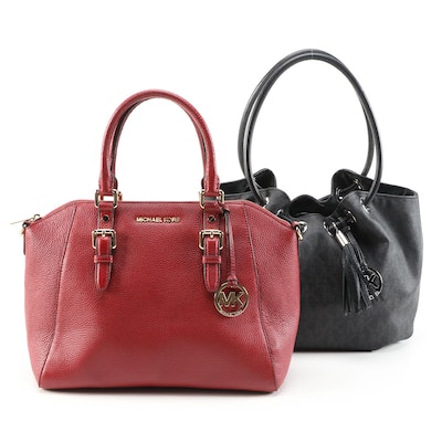 MICHAEL Michael Kors Red Leather Two-Way Bag and Monogram Canvas Satchel