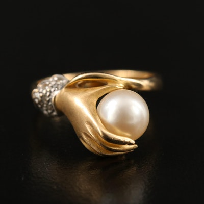 14K Pearl and Diamond Figural Hand Ring