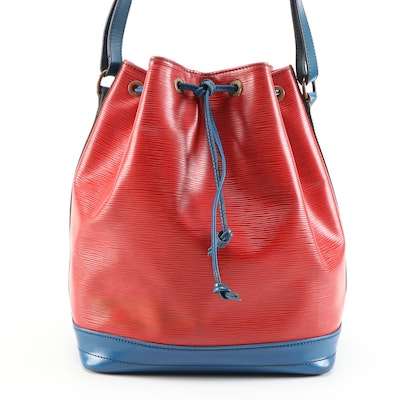 Louis Vuitton Noé Drawstring Bucket Bag in Red/Blue Epi Leather