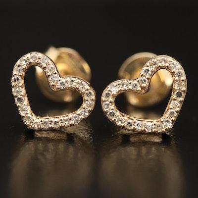 14K Diamond Heart Earrings