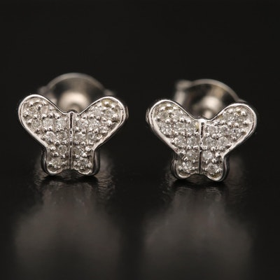14K Diamond Butterfly Stud Earrings