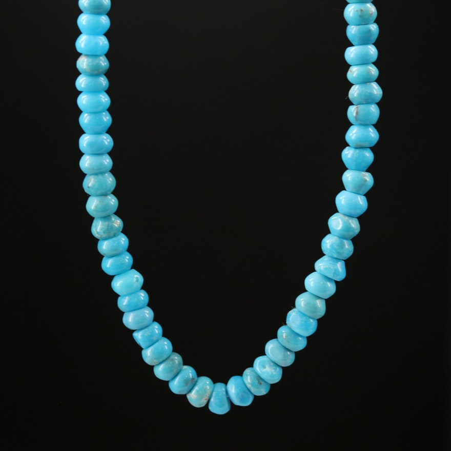 Beaded Turquoise Necklace with 14K Clasp