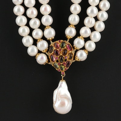Sterling Pearl, Tourmaline and Ruby Multi-Strand Necklace
