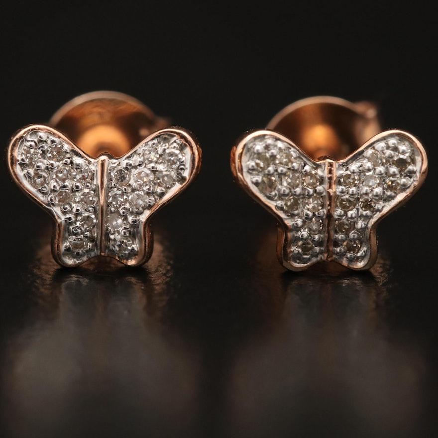 14K Diamond Butterfly Stud Earrings