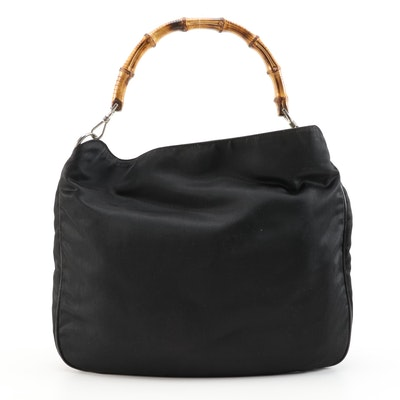 Gucci Bamboo Black Nylon and Leather Hobo Handbag