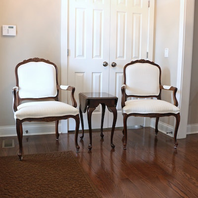 Louis XV Style Upholstered Armchairs and Ethan Allen Drop-Leaf Side Table