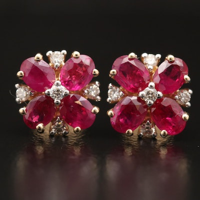14K Ruby and Diamond Floral Stud Earrings