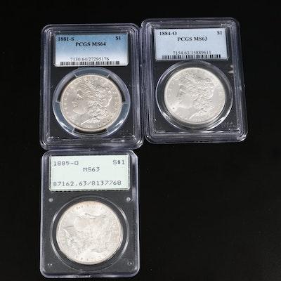 Three PCGS Graded Morgan Silver Dollars