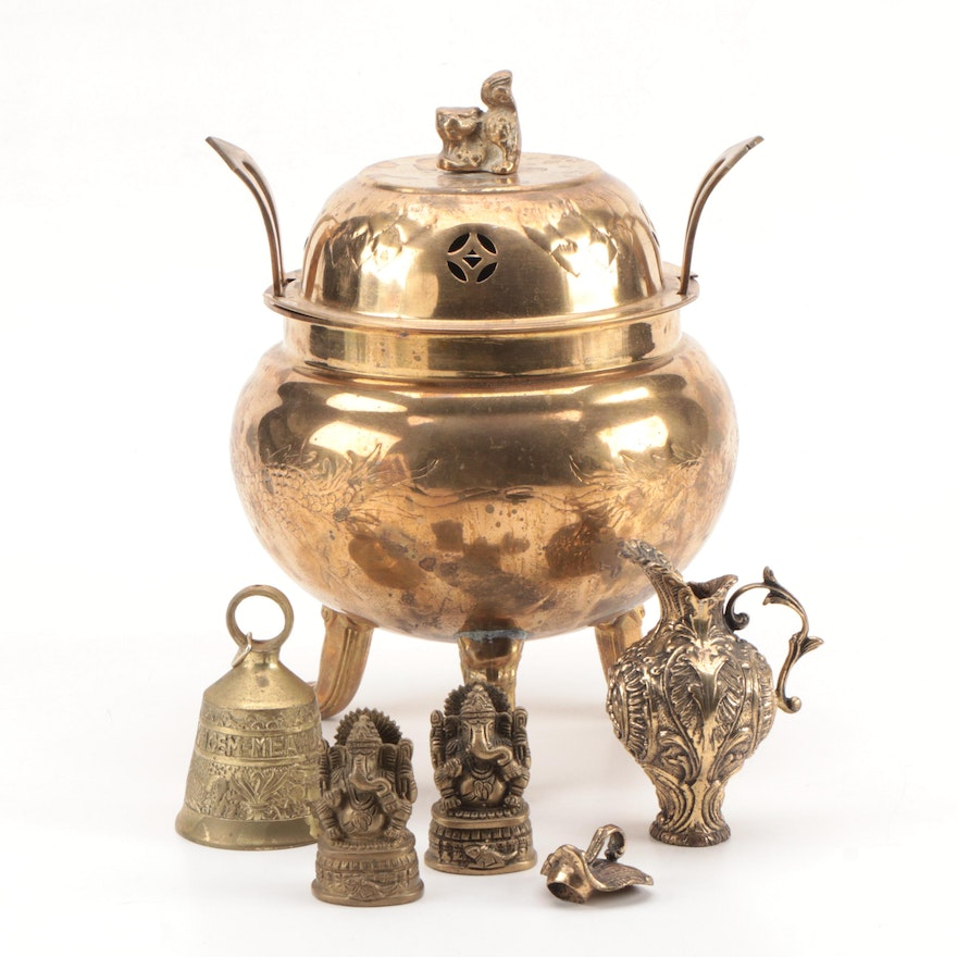 Chinese Brass Censer and Other Brass Objects Including Ganesh Figurines