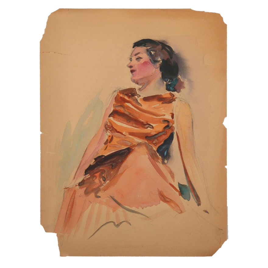 Robert H. Whitmore Watercolor Painting Figure Study, Early to Mid-20th Century