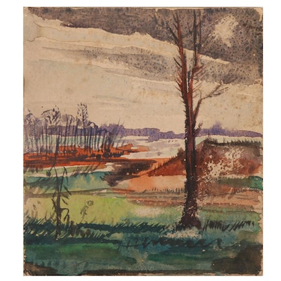 Robert H. Whitmore Watercolor Painting Landscape Study, Mid-20th Century