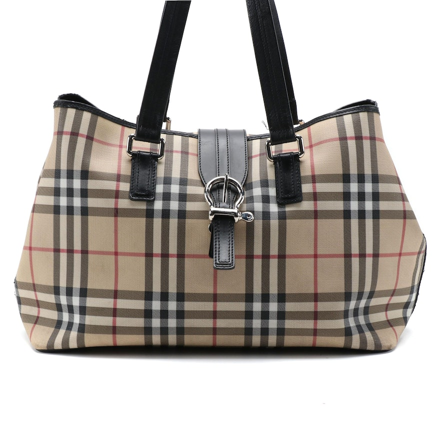 """Burberry """"House Check"""" Coated Canvas Tote Bag with Black Leather Trim"""