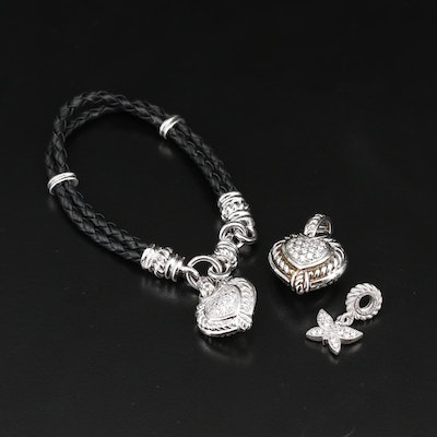 Judith Ripka Sterling Cubic Zirconia Bracelet with Heart and Butterfly Pendants