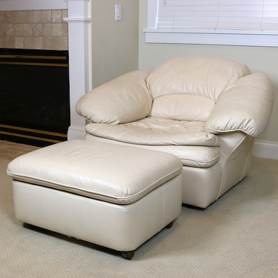 Century Furniture Cream Leather Lounge Chair and Ottoman