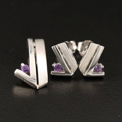 Sterling Amethyst Pendant and Stud Earrings Set