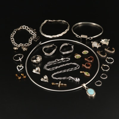 Collection of Jewelry Including Claddagh Ring and Pig Earrings